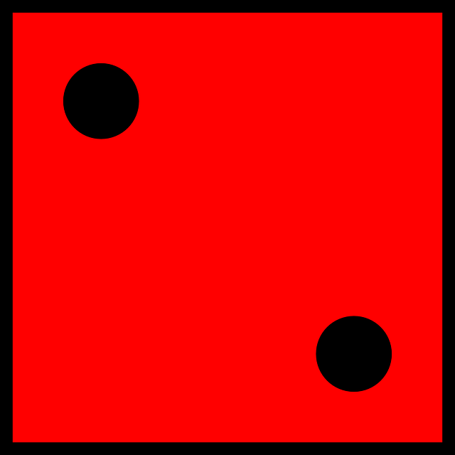 dice, die, game, red, cube, two, 2