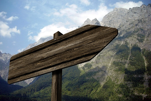 directory, signposts, mountain, watzmann, alpine, wood