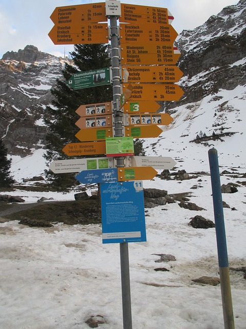 directory, signposts, shield, hiking trails, arrow