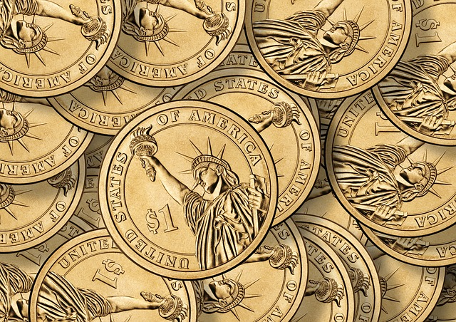 dollar, coins, currency, many, stack, usa, america