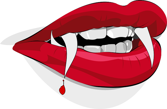dracula, fangs, vampire, blood, drop, lips, halloween