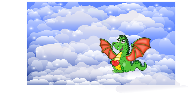 dragon, heart, kids, love, cute, clouds, sky