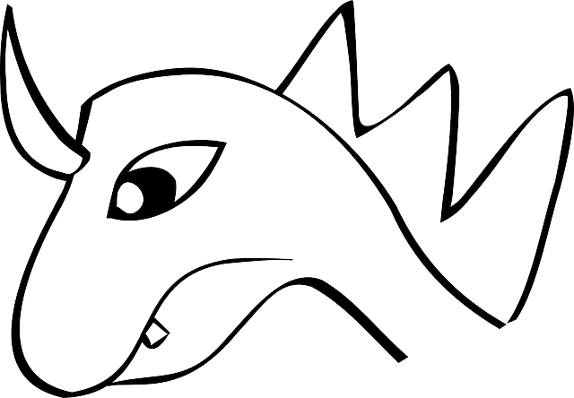 dragon, lizard, animal, head, horn, simple, outline