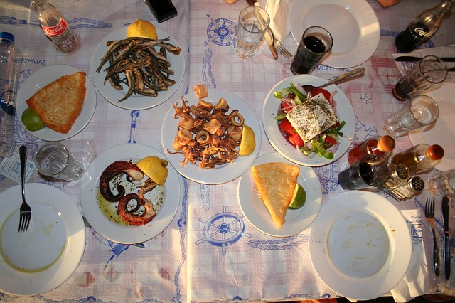 eat, dine, calamaris, food, fish, greek