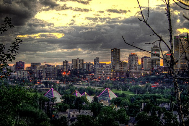 edmonton, canada, sky, clouds, city, cities