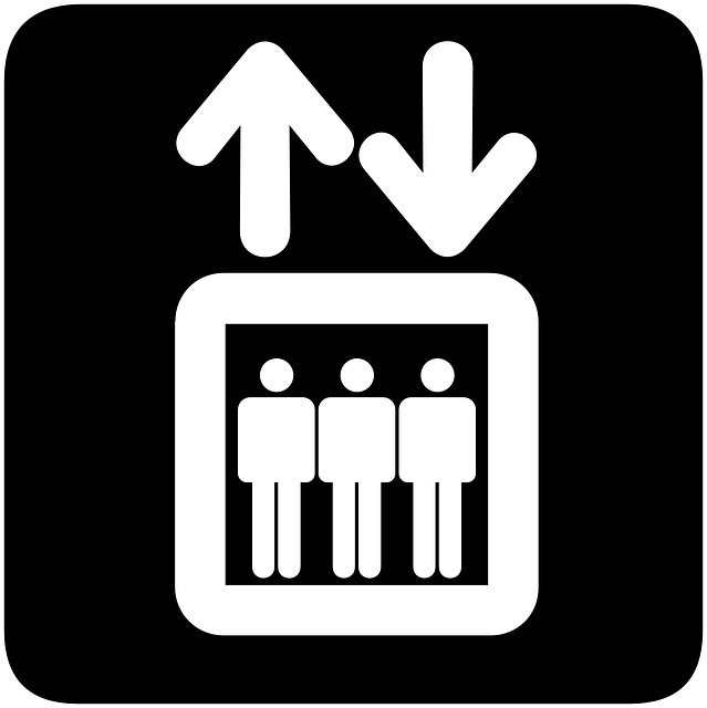elevator, sign, symbol, people, silhouette, down, lift