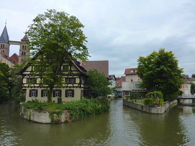 esslingen, germany, sky, clouds, buildings, stream
