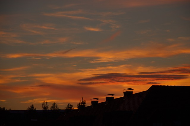 evening sky, sunset, roofs, silhouette, afterglow