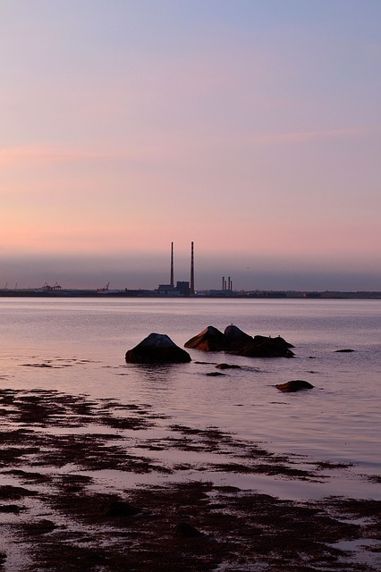 evening, sunset, dublin bay, soft light, dusk