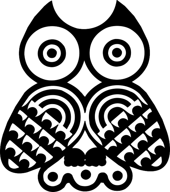 eye, design, bird, owl, style, wings, art, feathers