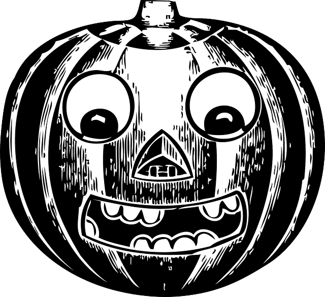 eyes, black, pumpkin, outline, jack, white, cartoon