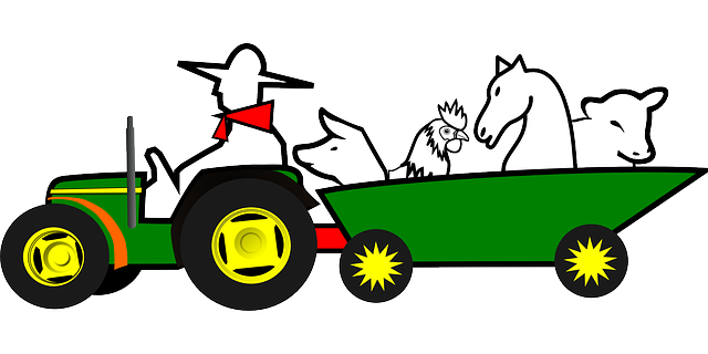 farmer, animals, car, farm, green, horse, tractor, pig