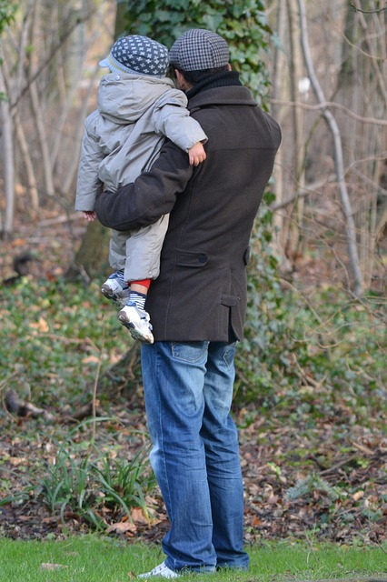 father with child, father, child, people, clothes