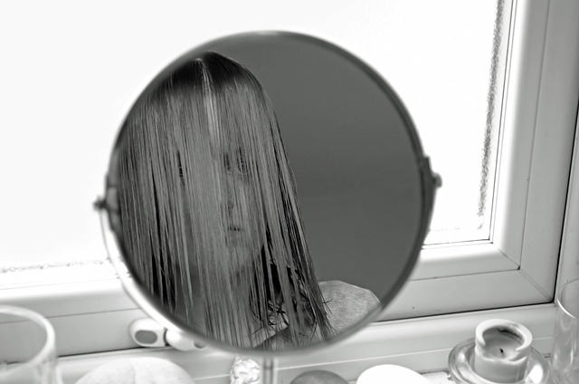 female, look, people, mirror, dissatisfaction, black