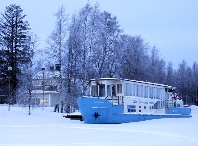 finland, ship, boat, house, home, river, water, frozen