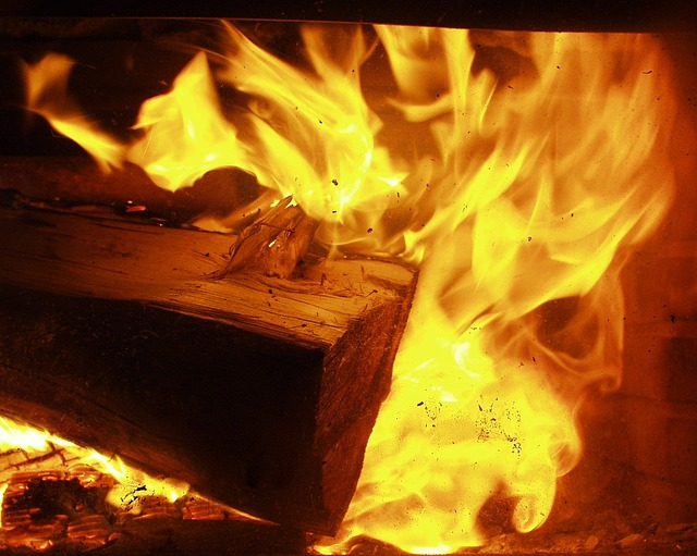 fire, pit, wood, hot, dry, flames, night, fireplace