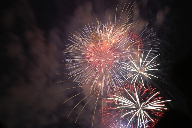 fireworks, white, red, green, light, color