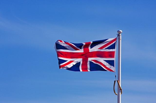 flag, union jack, british, english, sky, flying, blue