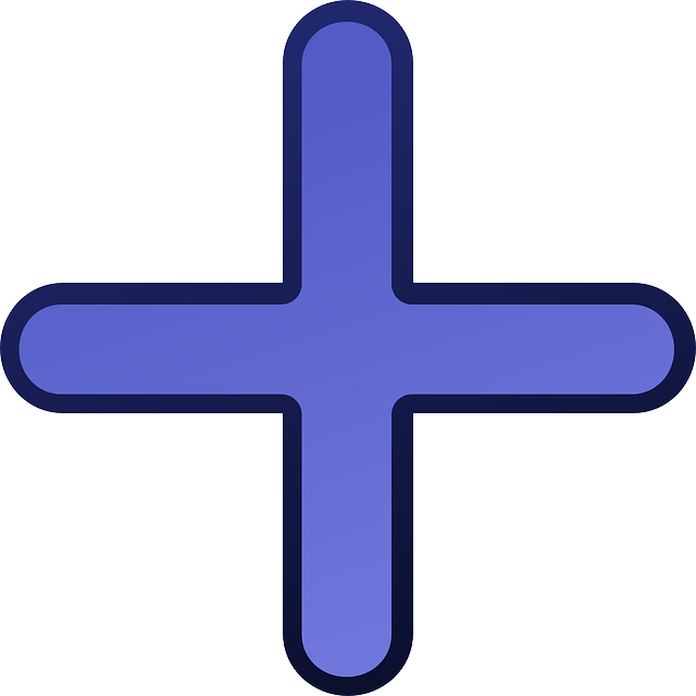 flat, icon, blue, cross, plus, add, adding