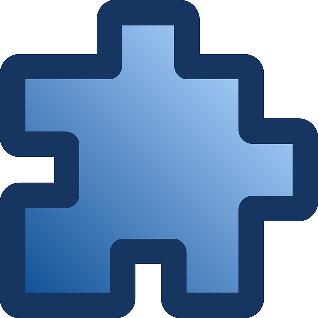 flat, icon, blue, puzzle, piece
