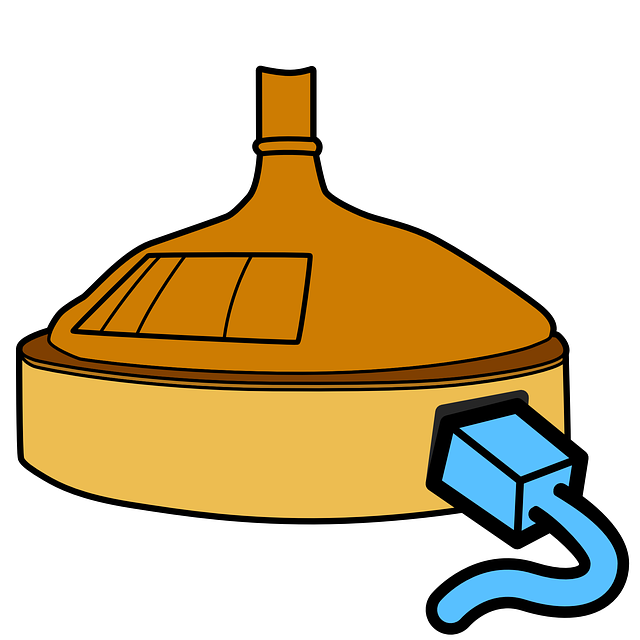 flat, icon, copper, kettle, brewing, brewery, facility