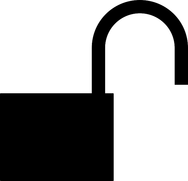 flat, icon, open, silhouette, padlock, unlocked, lock