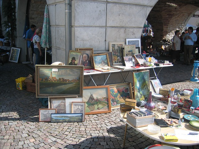 flea market, painting, browse, images, picture frame