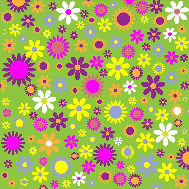 floral, flowers, pattern, colorful, scrapbooking, green