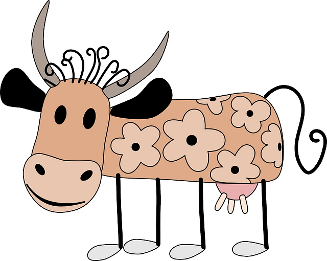 flowers, cartoon, cow, animal, with, flower