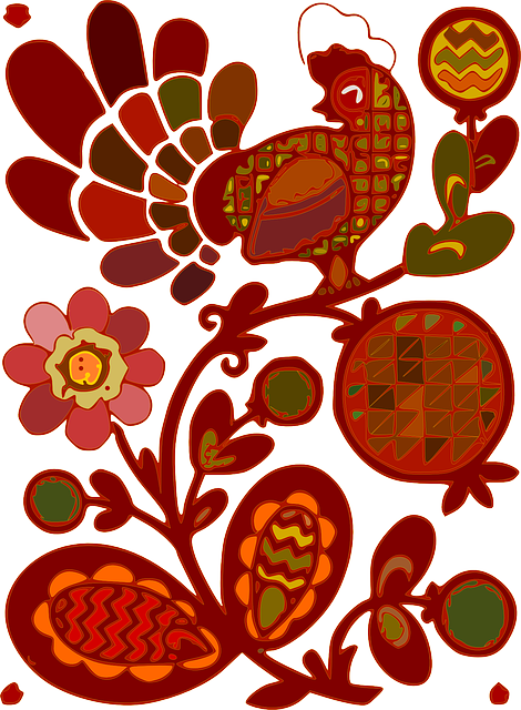flowers, cartoon, rooster, chicken, artistic, poultry