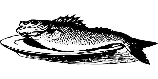 food, platter, plate, outline, cartoon, dish, fish