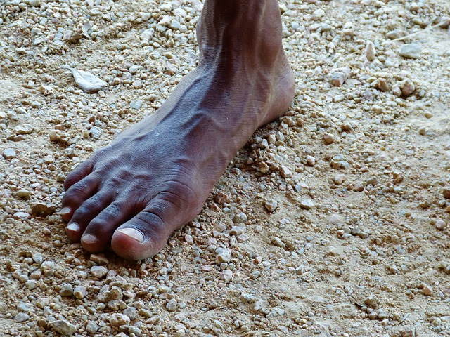 foot, barefoot, aborigines, ten, brown, man, stand
