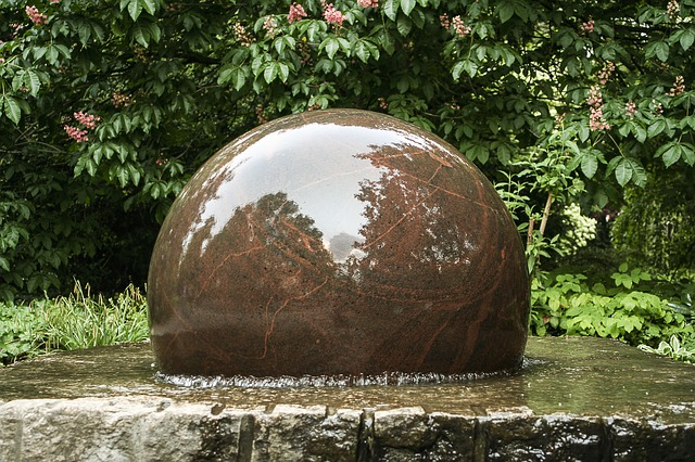 fountain, decorative fountains, stone ball, water