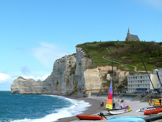 france, cliffs, sky, blue, sea, ocean, water, boats