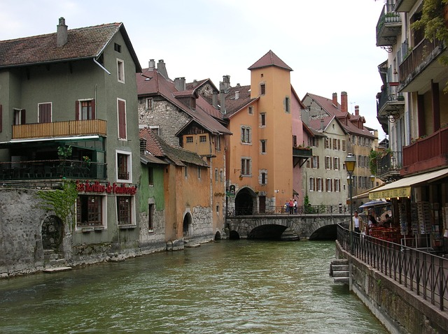 france, europe, water, town, buildings, architecture