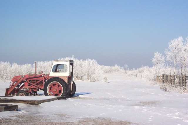 frost, ice, icy, winter, snow, tractor, farm, country