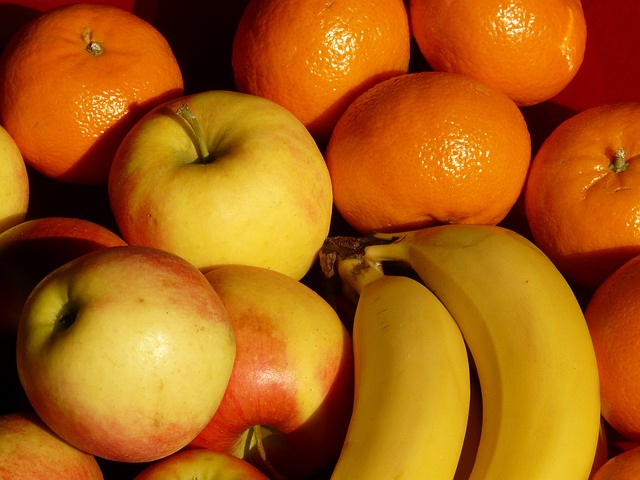 fruit, fruits, apple, bananas, tangerines, healthy
