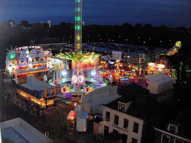 funfair, night, summer