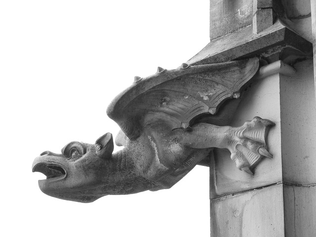 gargoyle, dragon, mythical creatures, water, drainage