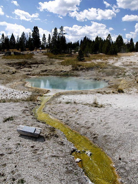 geothermal, pond, yellowstone national park, wyoming