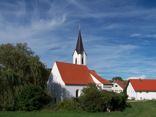 germany, church, sky, clouds, landscape, buildings