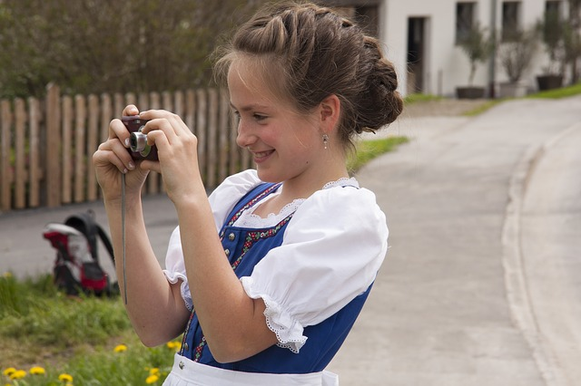 girl, smiling, hairstyles, plait, woven, costume