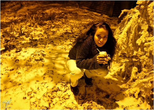 girl, woman, crouching, squatting, cold, night, winter