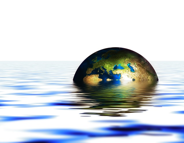 globe, earth, water, wave, setting, immersed, flood