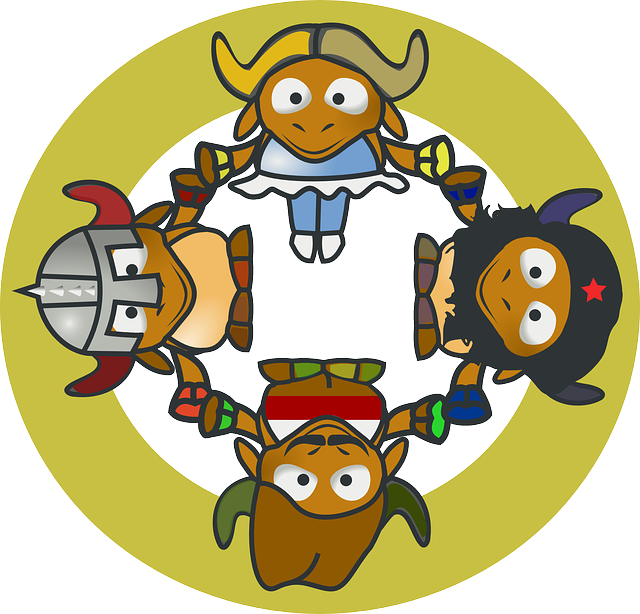 gnu, circle, cartoon, hands, cows, hold, hand, cow