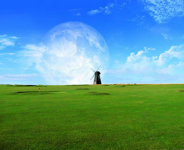 golf, sports, landscape, windmill, digital art, sky