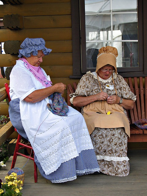 good old time, knitting women, costume, heritage