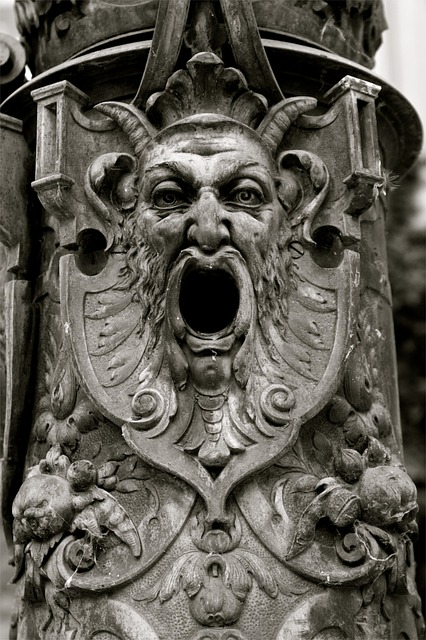gothic, face, iron, gargoyle, mask, eyes, black