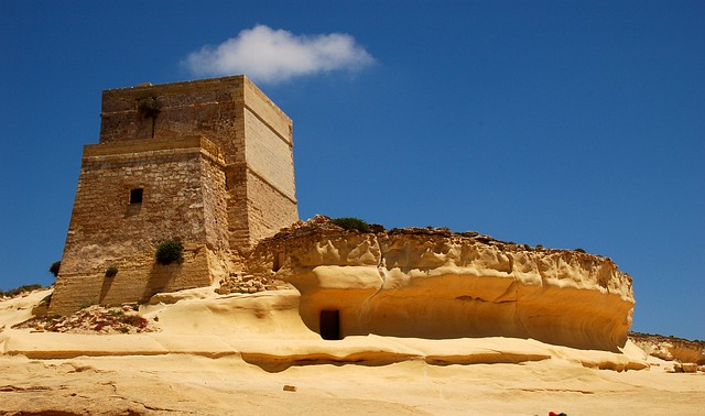 gozo, malta, castle, fortress, tower, yellow, sky, blue