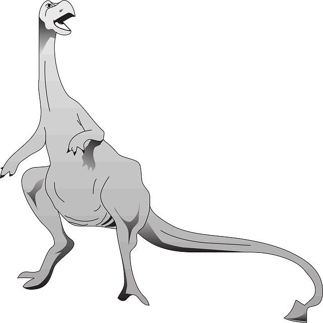 gray, art, dinosaur, long, standing, tail, reptile